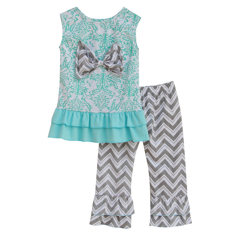 Lovely Girls Summer Set Blue Vest Top Vintage Floral Pattern Big Bowknot Decor Wavy Striped Ruffle Pants