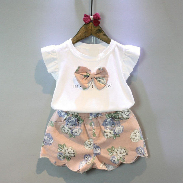 White Fly Sleeve Bow Top+Flower Print Short