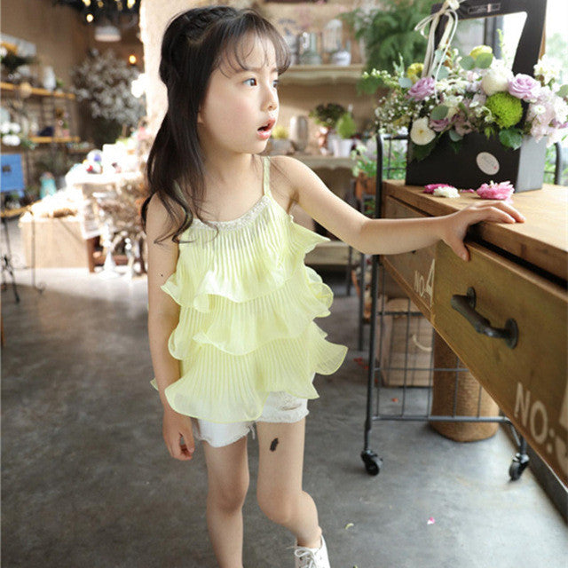 Chiffon Sling Multilayer Top White Shorts Girls Sets 2-7Y