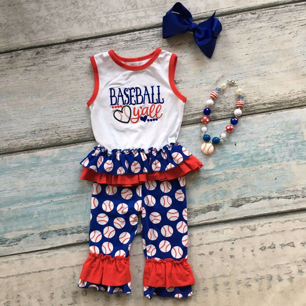 Summer design baby girls popular y'all baseball season style boutique ruffles cottonn capri outfit clothes matching accessories