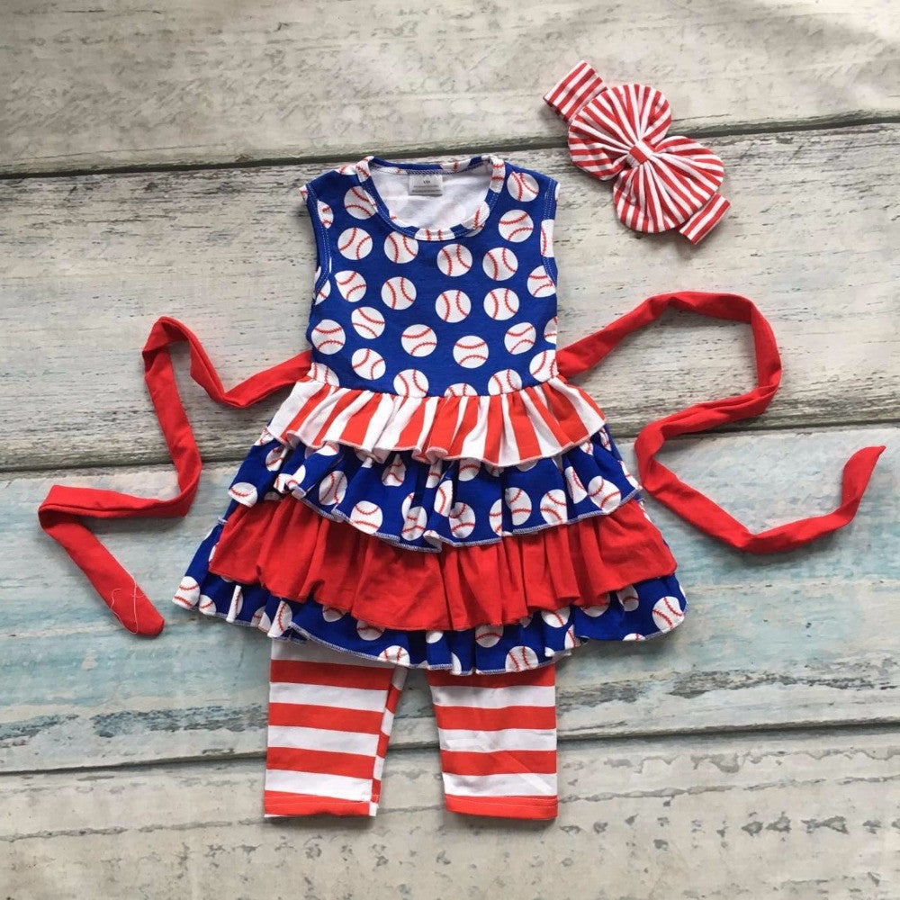 Summer design baby girls baseball season style boutique ruffles cotton capri striped belt outfit clothes matching accessories