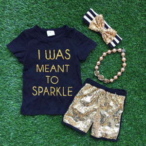 summer clothes baby girls shorts outifts short sleeve  I was meant to sparkle outfits with accessories