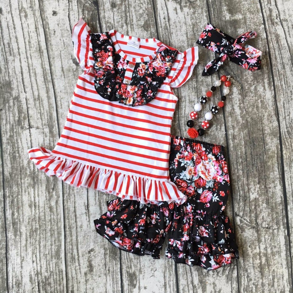 summer girls boutique clothes  red floral striped shorts cotton ruffles outfits  with matching accessories necklace and bow set