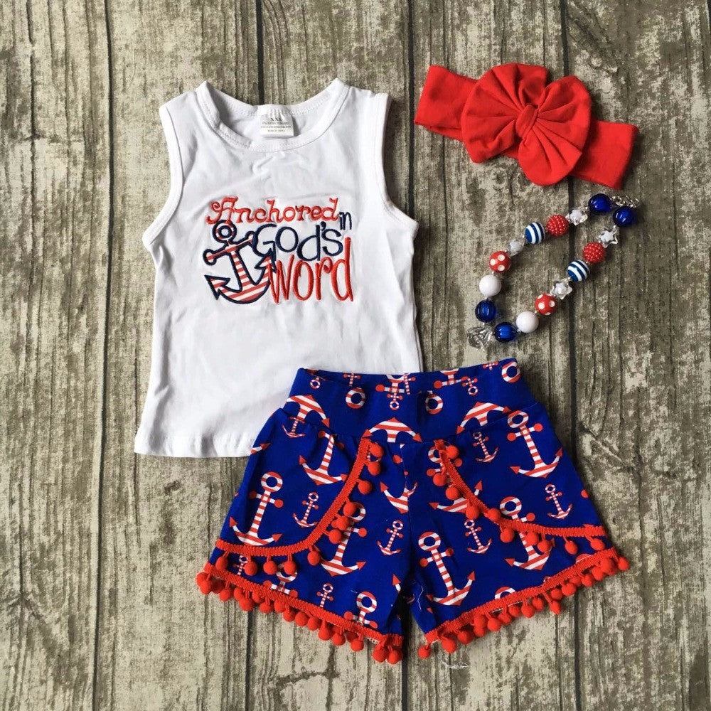 July 4th Summer outfit girls clothes God's word kids anchor clothes print shorts sleeveless matching necklace and headband set