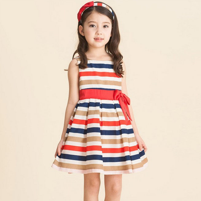 summer striped red and blue dress