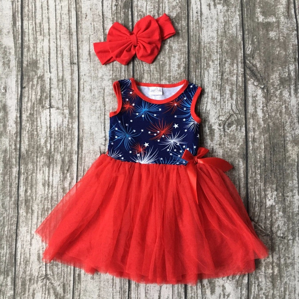 Fireworks print lacesleeveless Starry sky print belt cotton dress matching bow