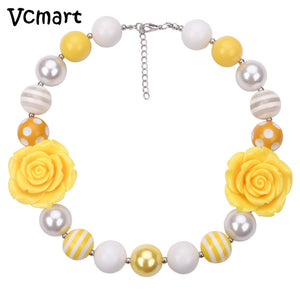 Vcmart Easter 1pcs Kids Two Yellow Flower Chunky Bubblegum Necklace Girl Children 20mm Beaded Necklace DIY Jewelry