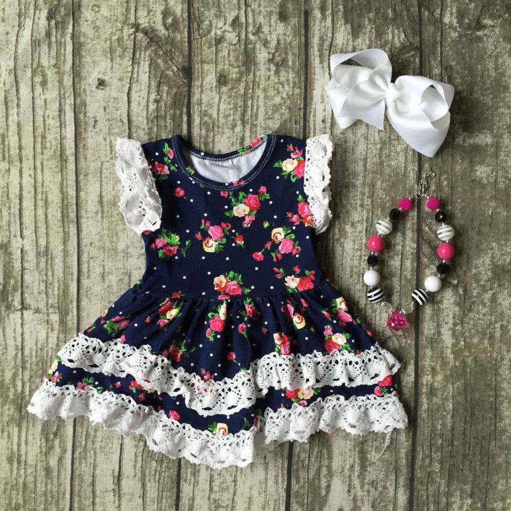 Fashion Spring Summer Girl Boutique Baby Flutter Sleeve floral dress children summer lace ruffle dress with accessories