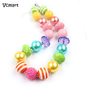 Vcmart Vcmart 2pcs Baby Girls Toddler Rainbow Beads Necklace Chunky Bubblegum Necklace Kids Jewlery Party Best Gift