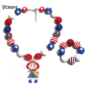 Vcmart Kids Chunky Necklace Sets 4th of July American Flag Pendant Necklace Chunky Bubblegum Necklace 1set/lot