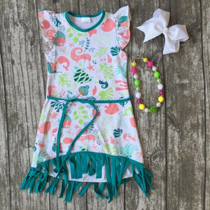 baby girls clothes kids wear summer jade ocean animal belt fringe Tassels dress cotton mtaching accessories boutique sleeveless