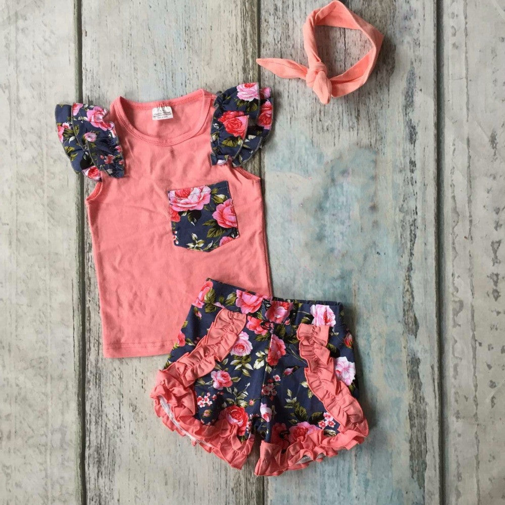 baby girls Summer clothing cotton coral floral outfits children pocket ruffle shorts clothes kids outfits with accessories bow