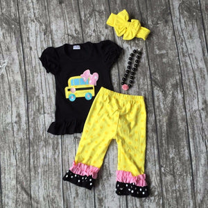 wholesale bulk Back to school baby girls outfit boutique clothes school bus ruffles capris girls set with matching accessories