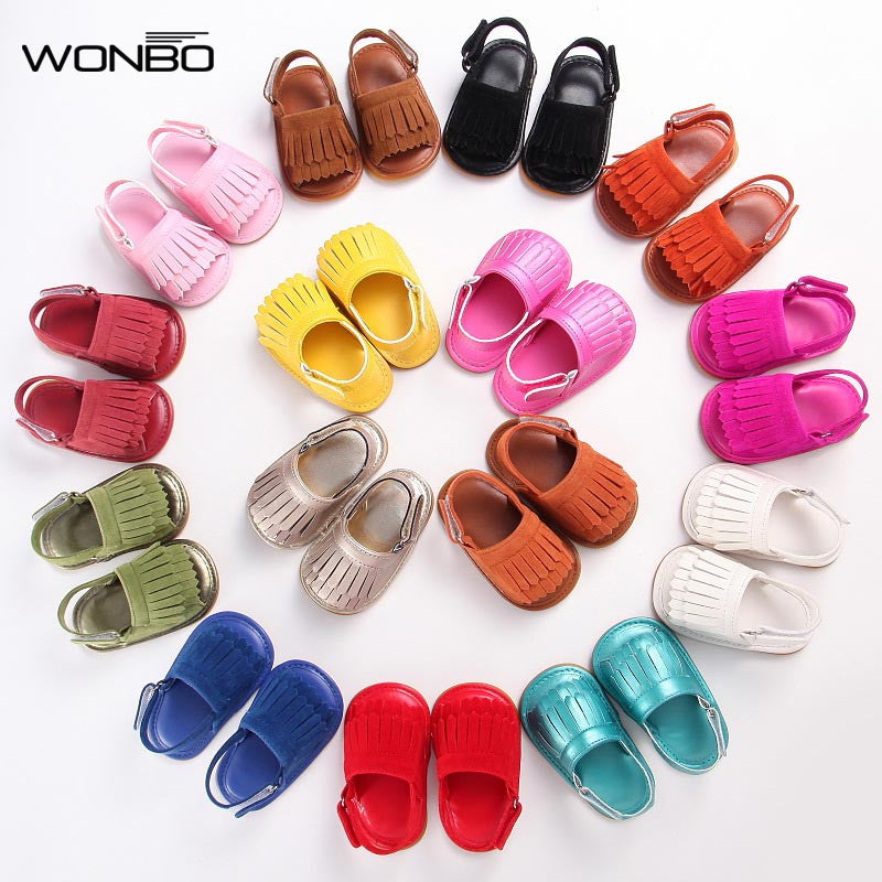 Leather rubber sole Baby moccasins Girls solid Baby Shoes Infant Toddler First Walkers Anti-slip Shoes