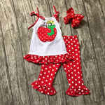girls summer outfits children back to school clothing girls apple top with red white polka dot capri  pants with bows