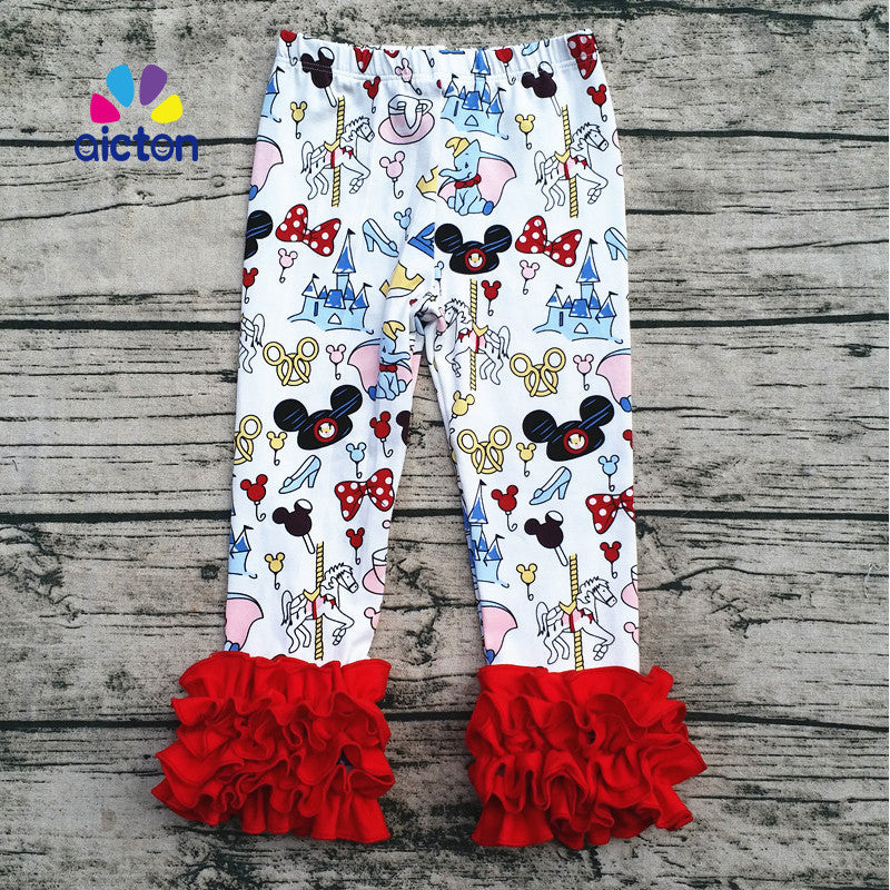 ruffle mickey cotton icing leggings boutique fall pants