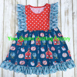 Latest style Back to school girl dress cotton printing fabric baby boutique dress