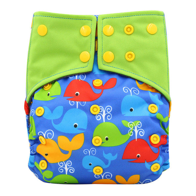 AI2 Cloth Diapers Infant Baby Reusable Diaper Nappies Character Print Washable Bamboo Charcoal Pocket Diapers Cover 0-3Years