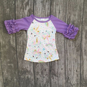 baby girls boutique raglans clothes girls unicorn raglans lavender sleeve unicorn top t shirts clothing children girls top sets