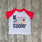back to school boy short sleeves top kinder garten red with grey boutique outfit 5T-7T available