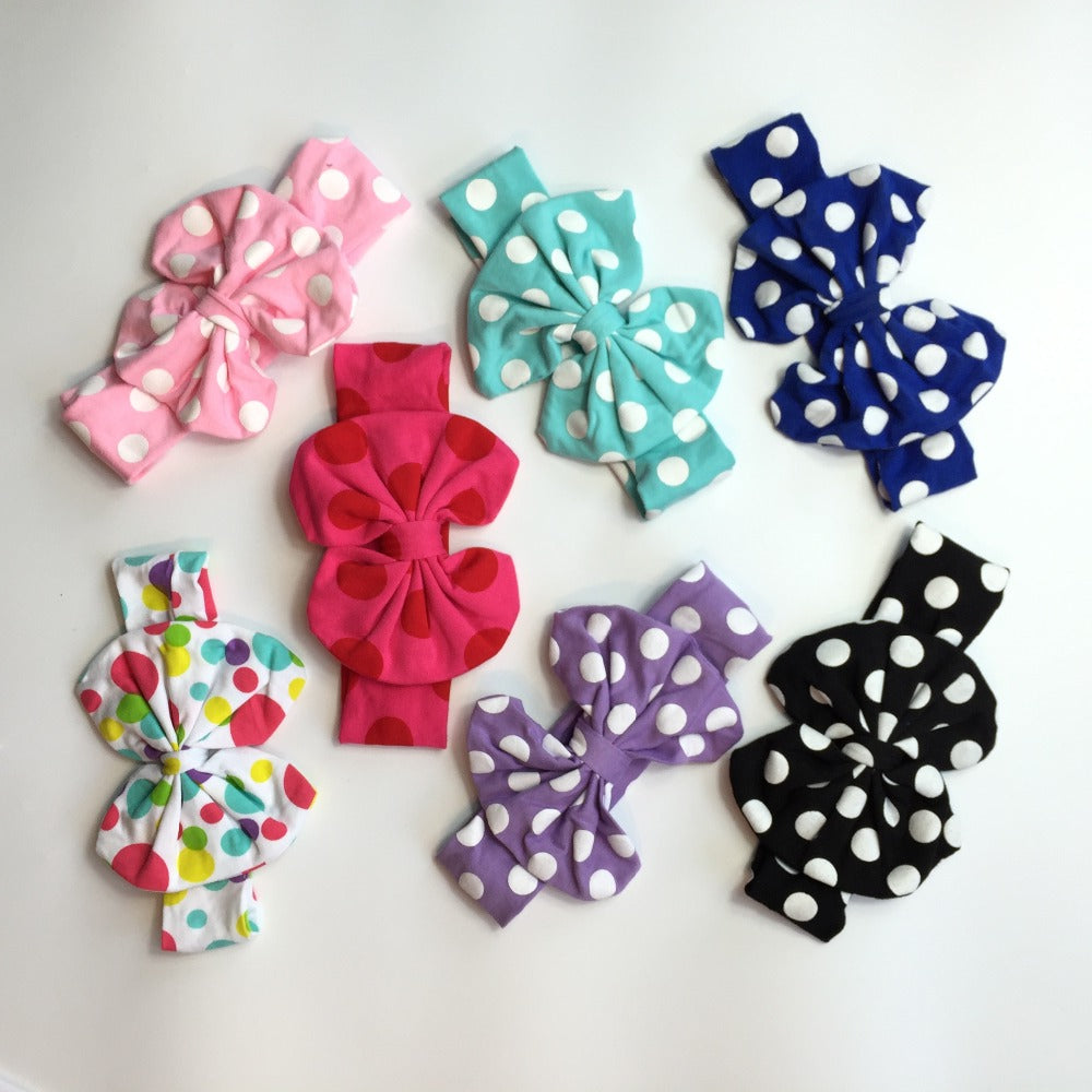 free shipping baby girls  random match wholesale polkadot cotton bow a variety of colors ornaments 8 pieces