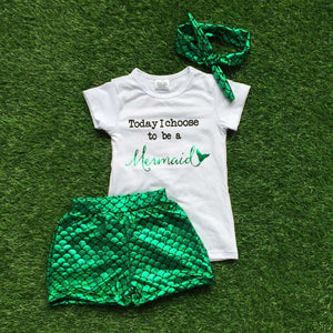 baby girls summer outfits boutique clothes children mermaid outfits girl today I choose to be a mermaid outfits with headband