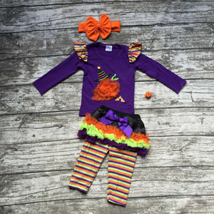halloween clothing baby girls ice cream outfits purple top with stripe pant set