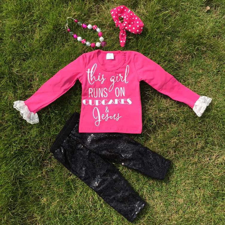 fall outfits This girl runs on cupcakes and Jesus gold print boutique pant sets girls hot pink clothes kids long sleeve sets