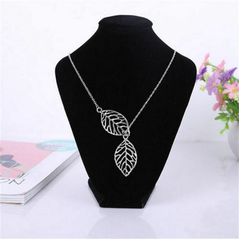 USA Cute Leaf Lariat Necklace Charm Boho Bohemian Womens Chain Choker Silver