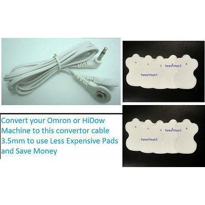 OMRON HV-F124, HV-125, HV-126, HV-F002A COMPATIBLE CABLE +14 ELECTROTHERAPY PADS