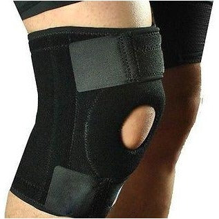 Adjustable Nylon Full Knee Patellar Brace Stabilizer Support Sport Guard Black