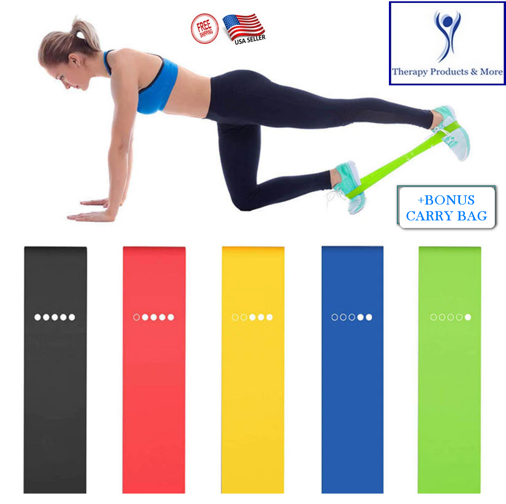 5 PCS Yoga Exercise Resistance Bands Stretching Rubber Fitness Strength Training w Bonus Bag