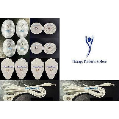 REPLACEMENT MASSAGE PAD ELECTRODES COMBO(12) w/ TWO 2.5mm LEAD CABLES FOR TENS