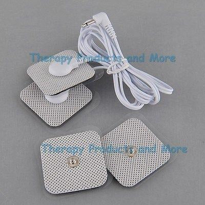 Square Shaped Electrodes (4) + 3.5mm Plug Cable for Digital Massage and TENS