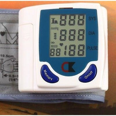 Professional Digital Automatic Blood Pressure Monitor Wrist Heart Beat Lcd Disp