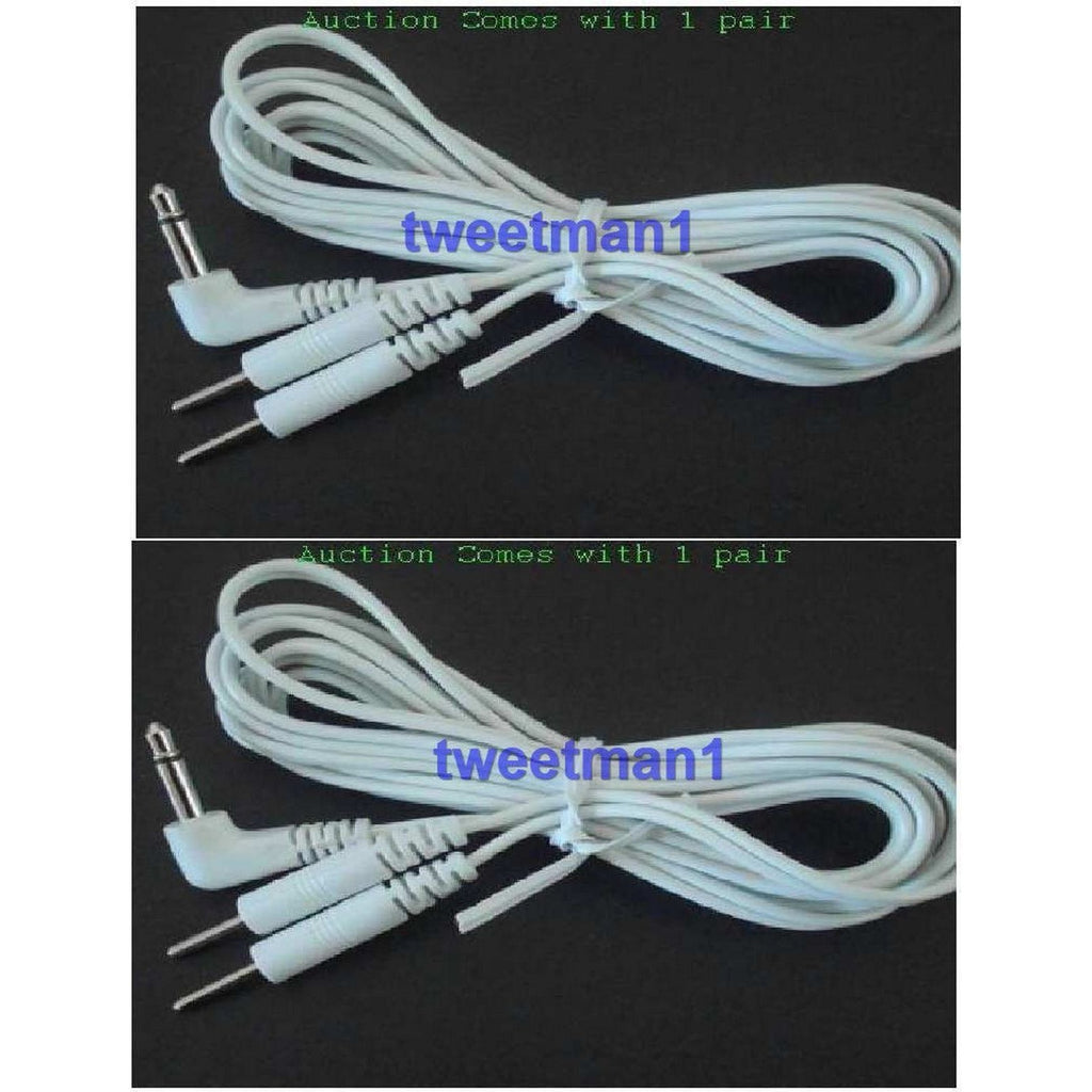 2 ELECTRODE LEAD WIRES CONNECTOR CABLES(3.5mm PLUG)FOR TENS ESTIM ...