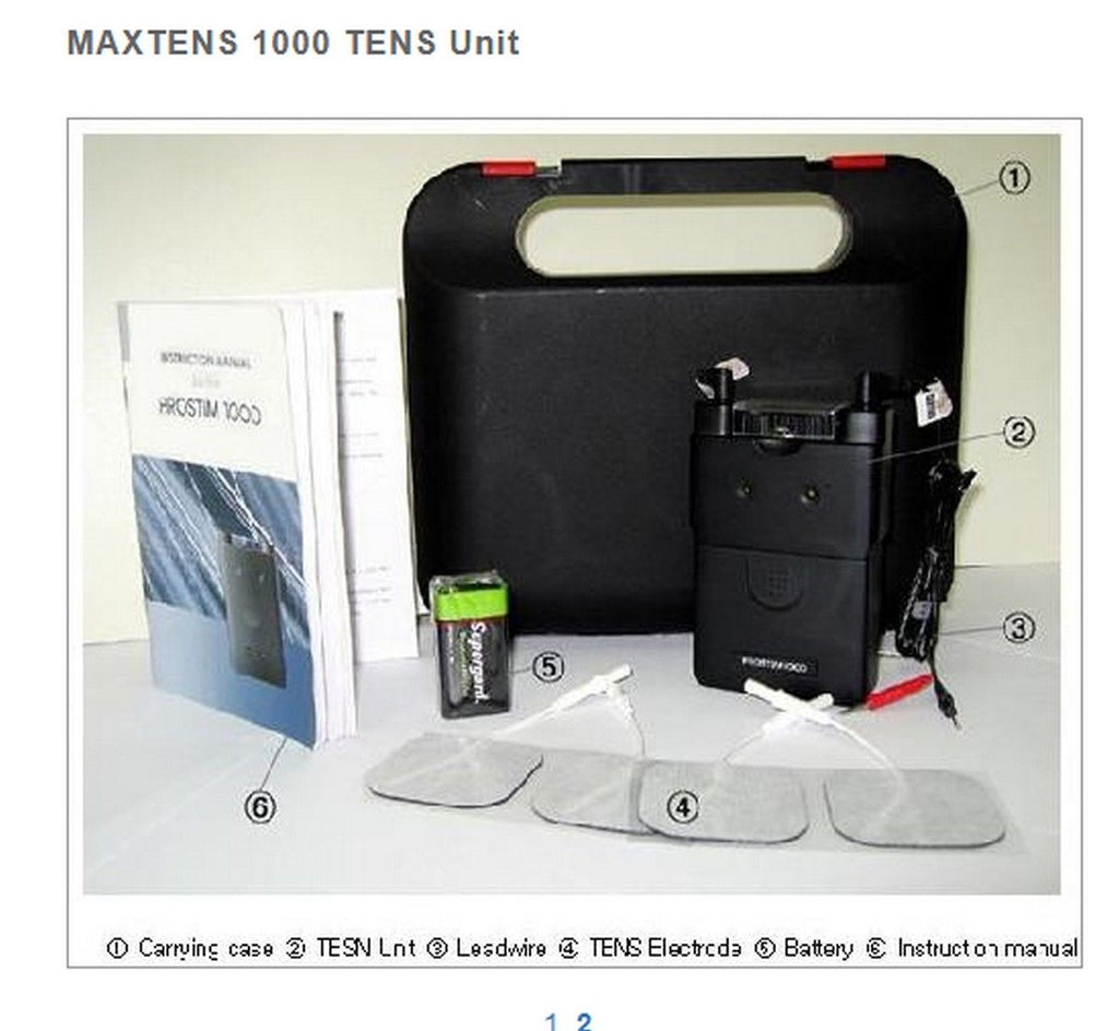 Maxtens 1000 Analog TENS Unit includes Lead Wires 4 Electrodes & 9 volt battery