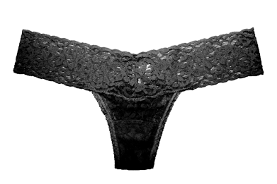 Barely Undies | Black Mystery lace low-rise thong