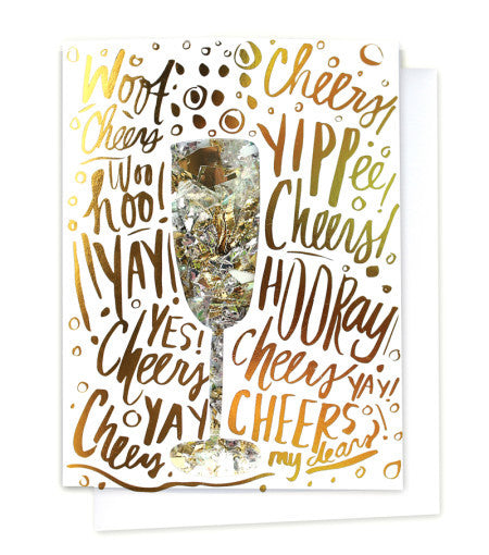 Gold Foil Congratulations Champagne Greeting Card with Blank Message