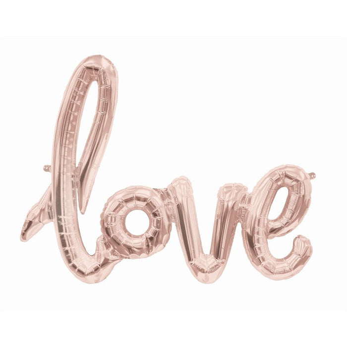 Love script rose gold balloon for engagement party, bridal shower decoration