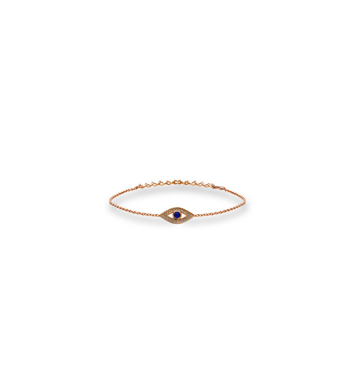 Rose gold evil eye bracelet