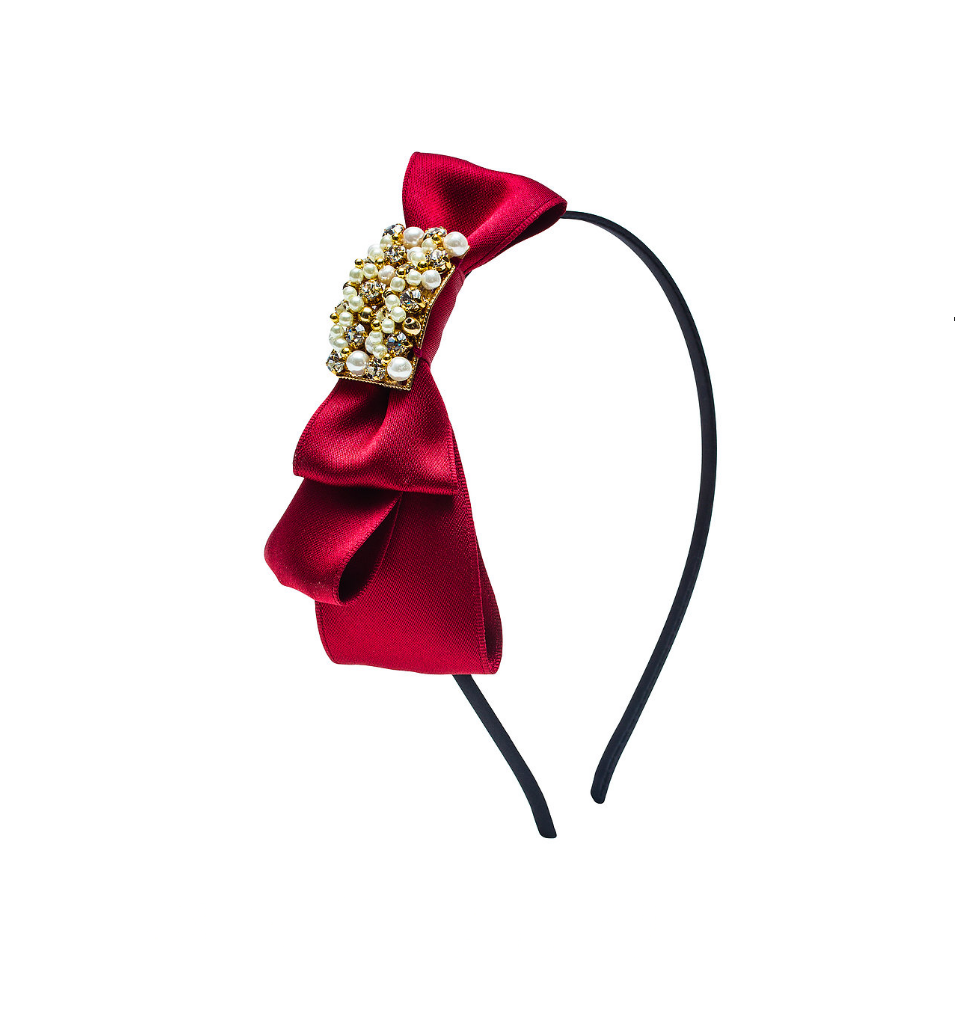 Silk Foldover Bow Red Headband