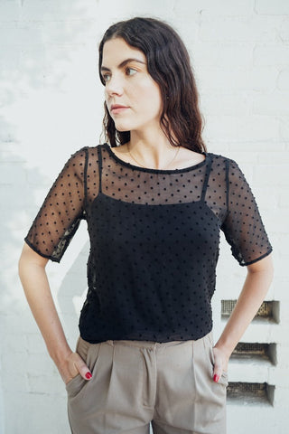 modest chiffon top with tank top sheer dots