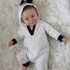 monochrome romper for baby boy girl at home in love tenth and pine