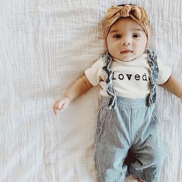 loved onesie, onzie, onsie, typerighter, typewriter font, loved., gender neutral baby clothes, unisex bodysuit, baby shower gift, girl boy