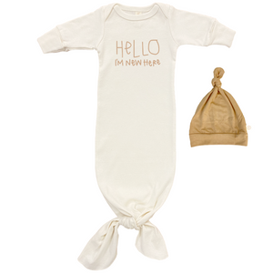 Hello Im New Here Gown + Hat Set - Clay