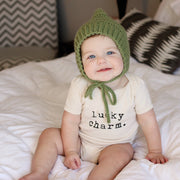 Lucky Charm, Baby, Boy, Girl, Unisex, Gender Neutral, Infant, Toddler, Newborn, Organic, Bodysuit, Outfit, One Piece, Layette, Words, St Patricks Day, Irish, Graphic Onesie, onsie, onzie, cream, natural color
