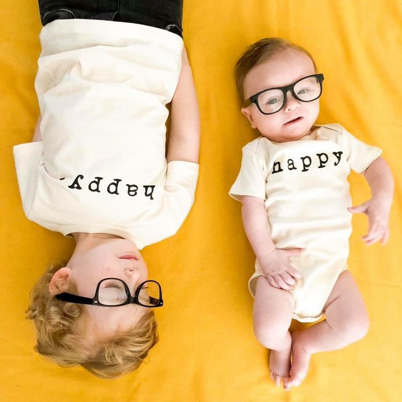 Happy, Baby, Girl, Boy, Infant, Toddler, Newborn, Organic, Bodysuit, Outfit, One Piece, Unisex, Gender Neutral, Words, typewriter font, cream, natural color, onesie, onsie, onzie, sibling pictures, baby glasses