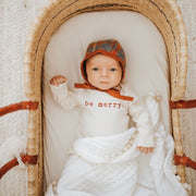 be merry onesie bodysuit onzie onsie baby boy girl text font typewriter organic baby made in usa cream baby clothes gender neutral earth tones natural