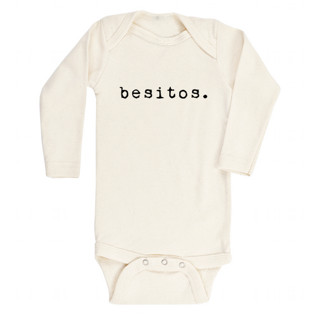 spanish onesie, onzie, onsie, bodysuit, spanish baby clothes, baby girl, baby boy, cream, natural, boho, word onesie phrases, newborn, baby shower gifts, new mom, spanish mom, spanish baby, organic baby clothes, made in usa, soft, hypoallergenic clothes, sensitive skin, eczema, long sleeve, winter, fall, spring, besos, mas besos